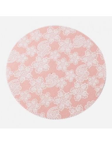 Salvamantel lino rosa flores / 4 uds