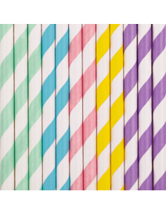 Pajitas de papel mix pastel / 10 uds.