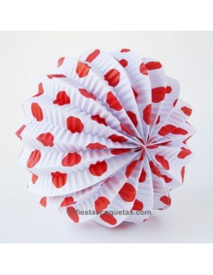 Farol de papel Blanco lunares rojos