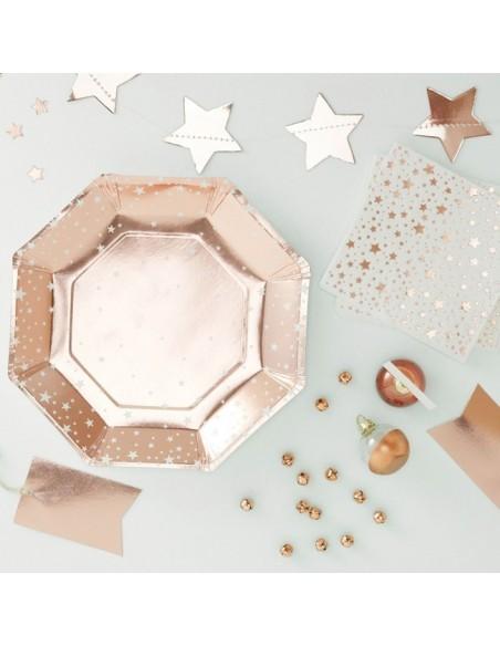 Platos Estrellas Rosa Dorado