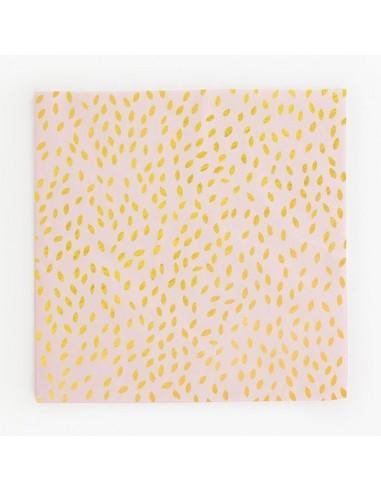 Servilletas de papel rosa con semillas oro foil