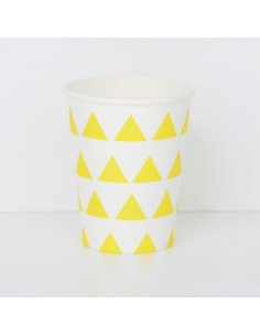 Vasos de papel triángulos amarillos