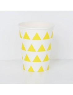 Vasos de papel triángulos amarillos