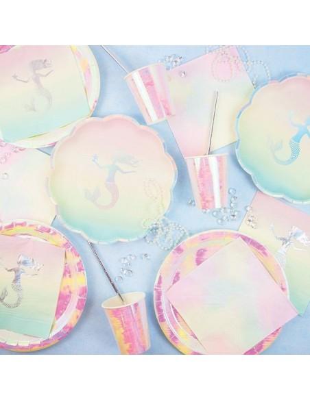 Platos Sirena degradado pastel / 12 uds