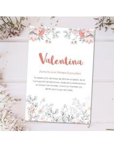 Invitación Comunión flores personalizada
