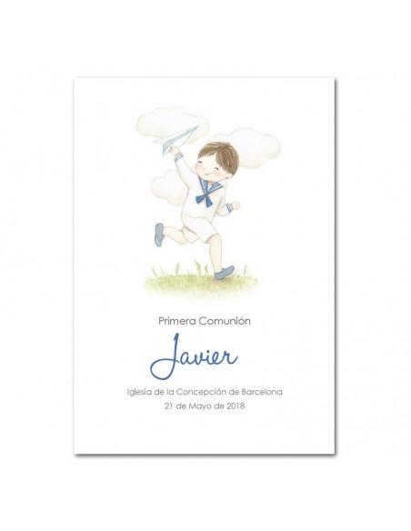 Recordatorio Comunión niño personalizada