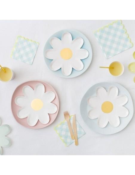 Platos mix flores pastel grande / 8 uds