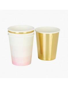 Vasos mix dorados y rosa degradado / 12 uds