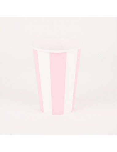 Vasos rayas rosa / 6 uds