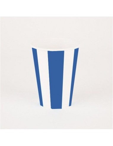 Vasos rayas azul marino / 6 uds