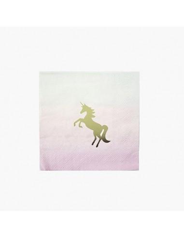 Servilletas unicornio degradado cocktel / 16 uds