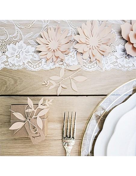 Kit decoración hojas de papel de color rosa / 6 uds