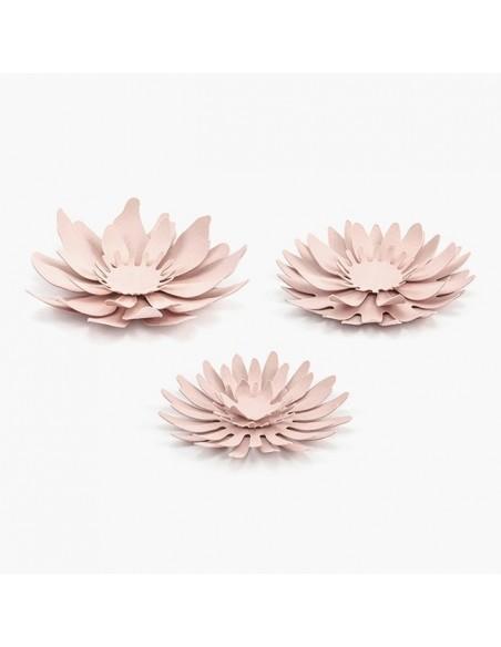 Kit 3 flores de papel rosa palo