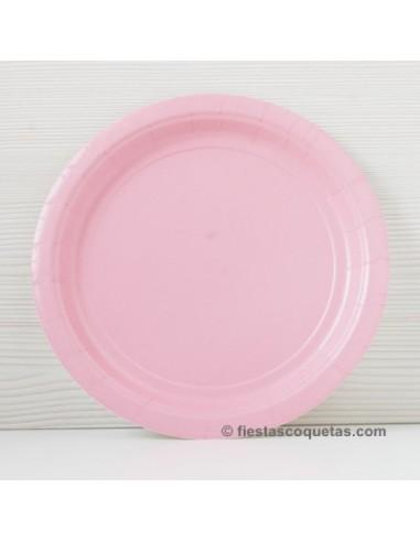 Platos de cartón rosa claro