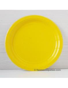 Platos de cartón amarillo 23 cm / 8 uds