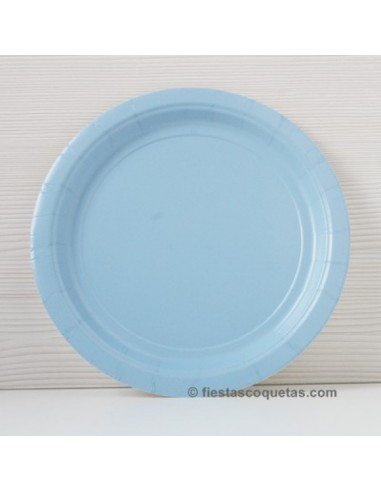 Platos de cartón azul claro