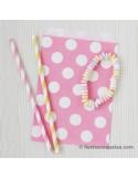 Bolsas de papel rosa con lunares / 12uds.