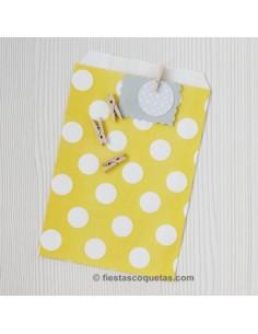 Bolsas de papel amarilla con lunares / 12uds.