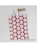 Bolsas de papel marrón con lunares rosa / 12uds.