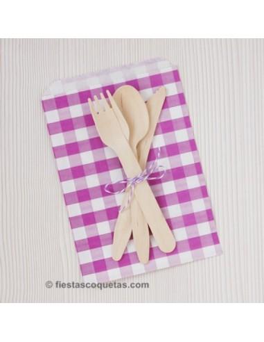 Bolsas de papel cuadros lila / 12uds.