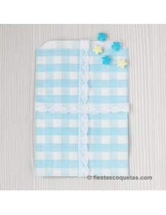 Bolsas de papel cuadros azul claro / 12uds.