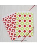 Bolsas de papel rombos verde y rojo / 12uds.