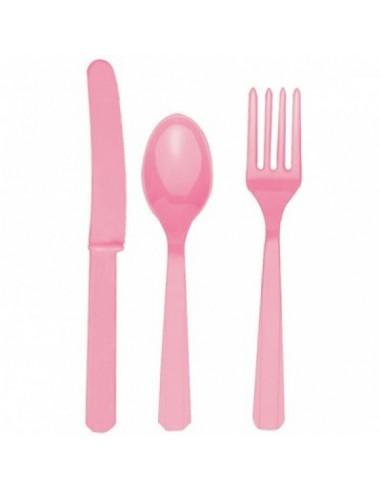 Cubiertos de plástico rosa
