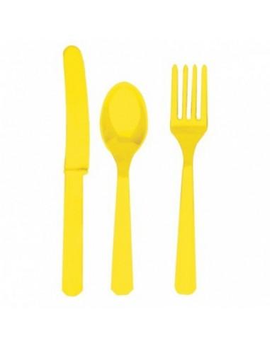 Cubiertos de plástico amarillo