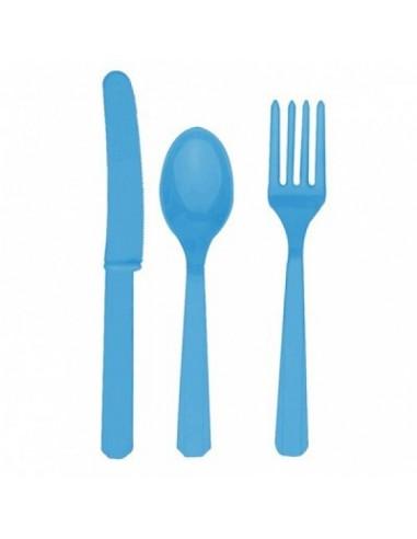 Cubiertos de plástico azul