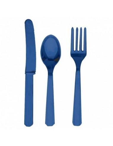 Cubiertos de plástico azul navy