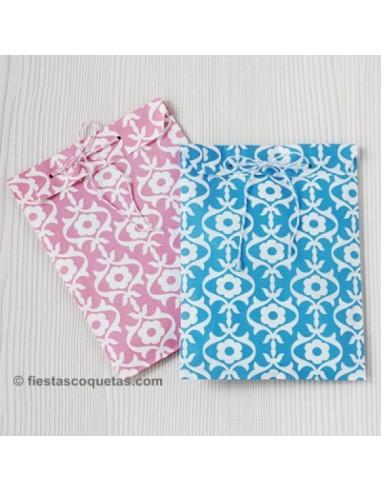 Bolsas de papel damasco azul / 12uds.