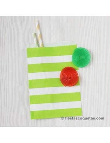 Bolsas papel rayas verde / 12 uds.
