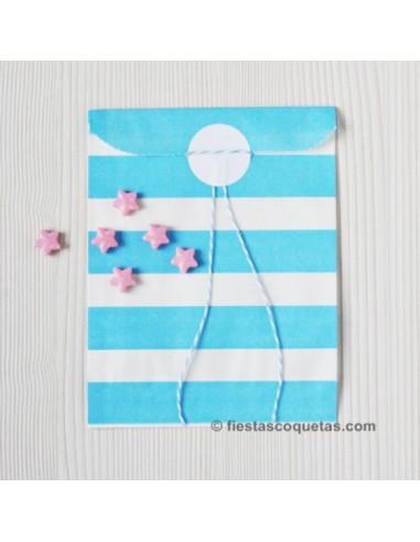 Bolsas papel rayas azul claro / 12 uds.