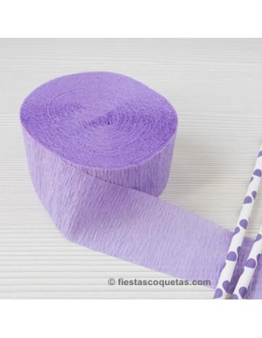Streamer papel crespon lila 23m