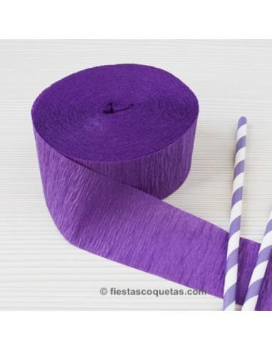 Streamer papel crespon morado 23m