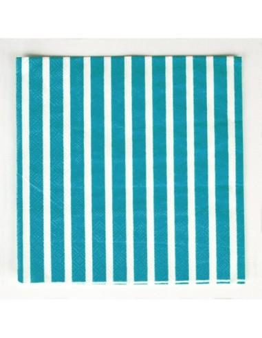 Servilletas a rayas azul turquesa / 20 uds.