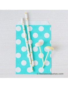 Bolsas de papel turquesa con lunares / 12 uds.