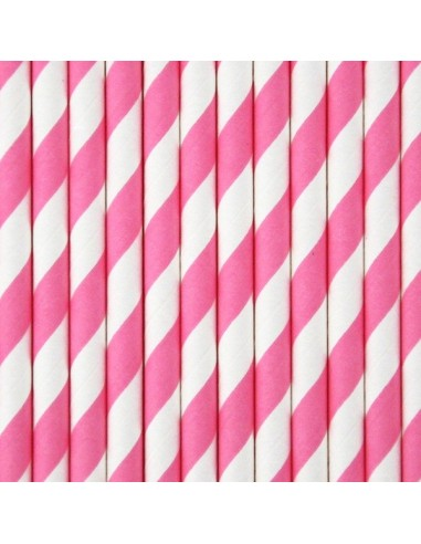 Pajitas de papel rayas rosa chicle / 12 uds.