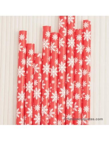 Pajitas de papel copos de nieve / 12 uds.