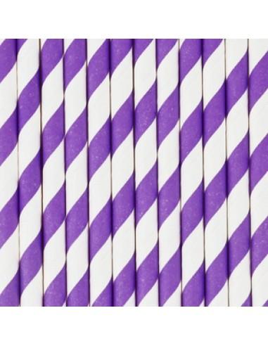 Pajitas de papel a rayas lila