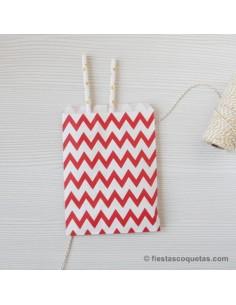 Bolsas de papel chevron rojo / 12uds.
