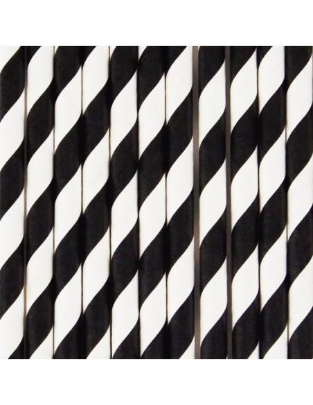 Pajitas de papel rayas negras / 12 uds.