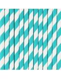 Pajitas de papel a rayas turquesa