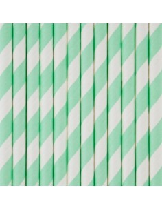 Pajitas de papel a rayas verde mint