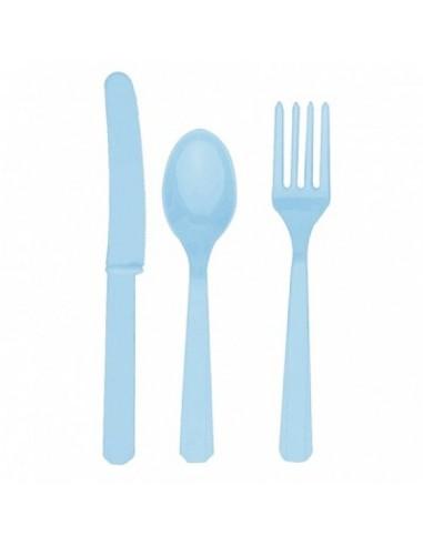 Cubiertos de plástico azul claro