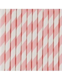 Pajitas de papel a rayas rosa bebé