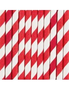 Pajitas de papel a rayas rojas