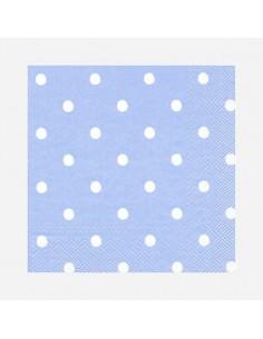 Servilletas azul claro con topos / 20 uds.