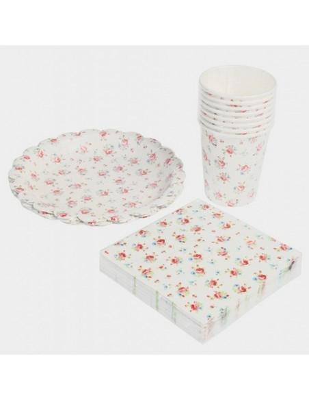 Platos de cartón Flores Vintage