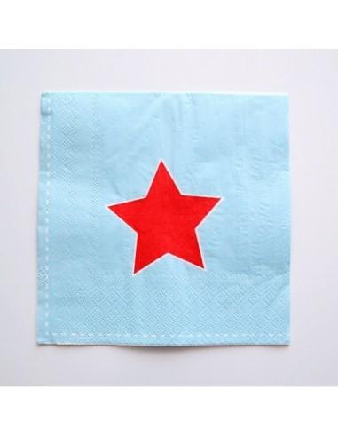 Servilletas Azul Estrella Roja / 20 uds